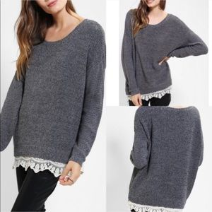 Urban outfitters chunky sweater w/ lace trim